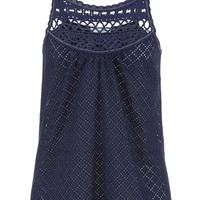 Eyelet Fabric Tank With Crochet Neckline - Blue