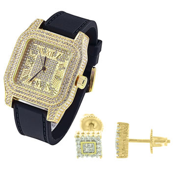 Men's Iced Out Square Face 14k Yellow Gold Finish Watch with Matching Earrings Combo Set