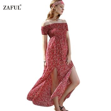 ZAFUL Summer Women Dress Bohemian Sexy split hem short sleeve Off shoulder red Print Woman long Maxi Dresses Feminino Vestidos