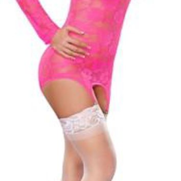 Merry Widow Dress and G-String Set - Neon Pink - Large-Extra Large