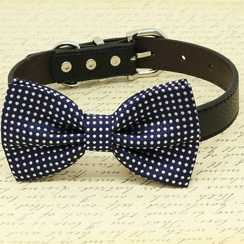 Navy Dog Bow Tie wedding, Polka dots, Dog birthday gift collar