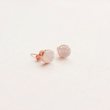 Petite Rose Gold Druzy Earrings
