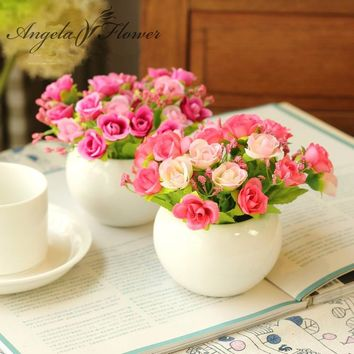 Quality Ceramics vase + silk flowers artificial flower set home decoration office balcony decorate