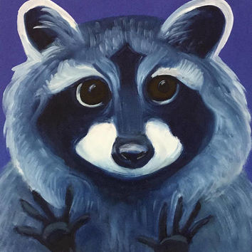 Raccoon oil painting