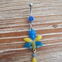 Belly Button Ring - Body Jewelry -Yellow And Blue Beads with Dark Blue Gem Stone Belly Button Ring