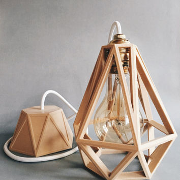 Industrial Vintage Suspension / Light / Shade / Pendant Light cage wooden 3D printed Diamond