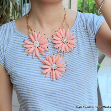 Pink Statement Necklace,Jcrew Inspired Crysatl Flower Necklace,Bridesmaids Gift Jewelry, Gift Box Wrap Available:  KS2013-011N