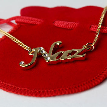 Name Necklace Naz - Gold Plated 18ct Personalised Necklace with Swarovski Elements