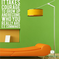 Subway Art Wall Decals ee cummings Courage by singlestonestudios