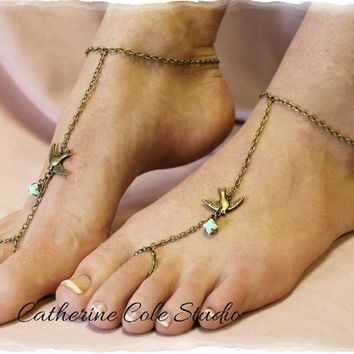 Swallow Bird bronze Barefoot sandals great for summer 1 pr. slave sandals beach   foot jewelry  Catherine Cole Studio   BF11