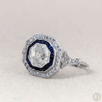 1.45ct Asscher Cut Diamond and Sapphire Ring - Vintage Engagement Ring - VS1 Clarity - Triple Wire Platinum Setting - Fleur de lis