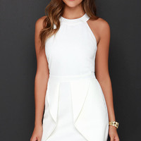 Hip Hype Ivory Halter Dress