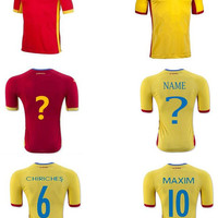 Romania Soccer Jersey 10 MAXIM 6 CHIRICHES Customized Any Name Personalize Any Number Team Red Road Yellow Football Shirt Uniform Shirt