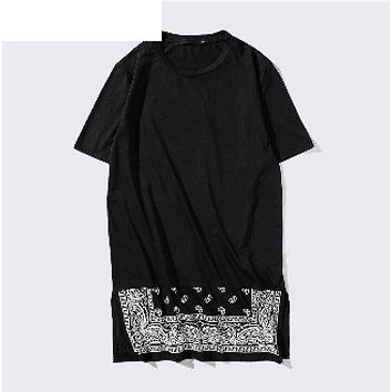 Spliced Paisley hem Coast hip hop t shirt