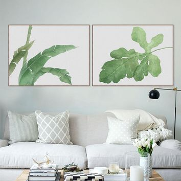 Watercolor Modern Cottage Cool Green Leaves Flower Plant Canvas A4 Print Poster Nordic Wall Picture Home Decor Painting No Frame