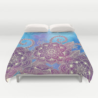 Magnolia & Magenta Floral on Watercolor Duvet Cover by Micklyn