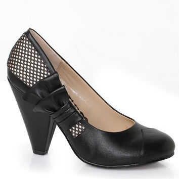 Retro Style Black Ella Bow Cone Pumps