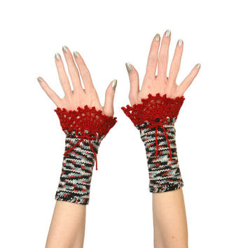 Black-White-Grey-Red Fingerless Gloves - Eco Friendly Self Patterned Knitted Arm Warmers With Burgundy Red Mohair Crochet Lace Decoration