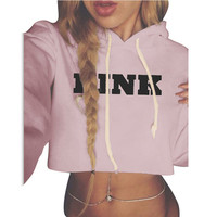 Casual Fashion Hooded Mini Women Sweatshirt Full Sleeve PINK Letter Printed Pullovers Cropped Tops Loose Women Jumpers 2016