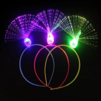 PEAPON 2017 Flashing Headband Light Optical Fiber Peacock Head Hoop For Girls Dress Up Decor Halloween Costume Glow Party Supplies