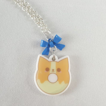 Corgi, dog, donut, food, dessert, charm, cute, kawaii, anime,acrylic charm, necklace, silver, gold