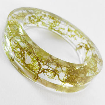 Resin Bangle Argentina Jungle Natural Moss Filled  High Quality Epoxy Resin Bangle