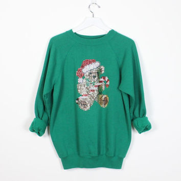 Vintage Tacky Christmas Sweater Green SEQUIN Beaded Teddy Bear Candy Cane Bedazzled Ugly Xmas Sweater Slouch Holiday Party Sweatshirt M L