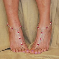 Pink Pearl Beaded Barefoot Sandals, Beach Footless Sandals, Beach Wedding, Bottomless Sandals, Foot Jewelry, Anklet, Accessory, Toe Ring