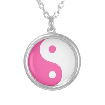 Traditional Yin Yang Pink Silver Plated Necklace