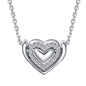 Triple Heart 925 Sterling Silver Necklace