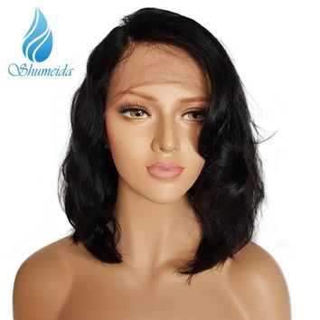 SHUMEIDA Glueless Lace Front Human Hair Wigs Short Wavy Human Hair Bob Wig Brazilian Remy Pre Plucked Lace Front Wig Black Women