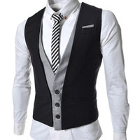 V-Neck Sleeveless Two Pieces Waistcoat