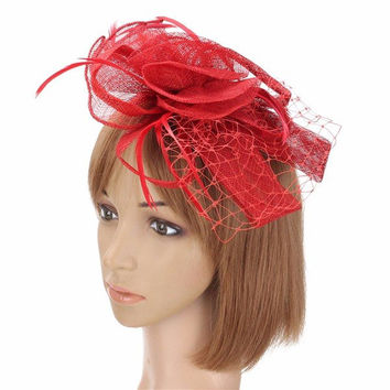Women Wedding Party Race Game Headpiece Fascinator Flower Hair Clip Feather Headband