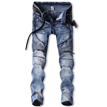 Stretch Strong Character Zippers Pants Ruffle Jeans [407120511005]