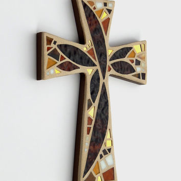 "Mosaic Wall Cross, Abstract Floral, ""Sunset"", Shades of Brown+Gold Mirror Handmade Stained Glass Mosaic Cross Wall Decor, 12"" x 8"""