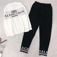 Balenciaga Popular Women Men Casual Long Sleeve Top Sweater Pants Trousers Set Two-Piece White