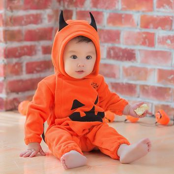 2017 Fashion Toddler Kids Halloween pumpkin Rompers Clothes 3D Cute Newborn Infant Bebes Hooded Jumpsuit Playsuit Outfit