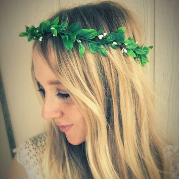 SALE Woodland greenery flower crown,flower garland,festival,boxwood flower headband,flower girl wreath,bachelorette party,flower head piece