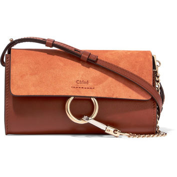 Chloé - Faye mini leather and suede shoulder bag