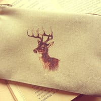 Hand Printed Deer Head Little Purse - Made to Order - World Wide Free Shipping :)