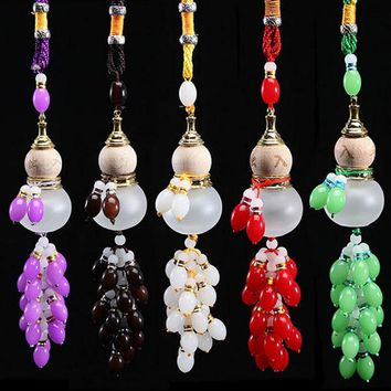 Car Pendant Perfume Bottle Colored Beads Gourd Safe Glass Car Accessories Gift Automotive Interiors Auto Decoration