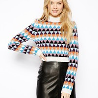 ASOS Cropped High Neck Sweater in Pattern - Multi