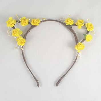 Yellow flower crown, Floral crown, Cat ears, Bohemian, Anime, Cosplay, Cat ear headband, Cat ears headband, Anime cat ears, Festival