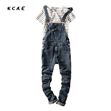 2016 Spring Autumn Fashion mens slim jeans overalls Casual bib jeans for men Male Ripped denim jumpsuit Suspenders Bibs
