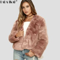 Winter Women Solid Fluffy Hair Faux Fur Coat Black White Green Pink Wine Red Plus Size 3XL Street lady Fur Jacket SWQ0364-45