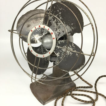 Antique Desk Fan, Airline Fan, Vintage Fan, Montgomery Ward Fan, Vintage Industrial, Industrial Fan, Vintage Desk Fan, Oscillating Fan