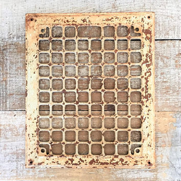 Grate Antique Metal Grate Industrial Heating Duct Cover Register Plate Metal Wall Hanging Architectural Salvage Wall Earring Organizer