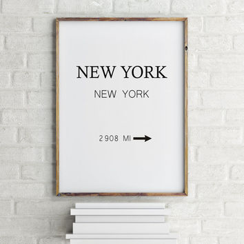 New York City Print Typography Art Print Gift for Her Fashion Art NYC Art Prada Marfa Sign Like in Gossip Girl Print Black and White Poster