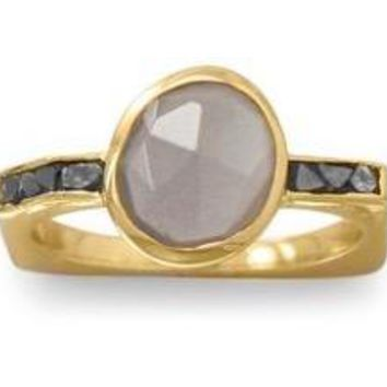 Grey Moonstone and Diamond Chips 14kt Gold-Plated .925 Sterling Silver Ring