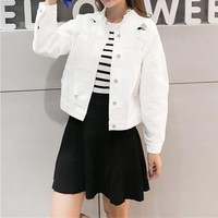 Women Simple Fashion Solid Color Personality Worn Ripped Long Sleeve Denim Cardigan Coat